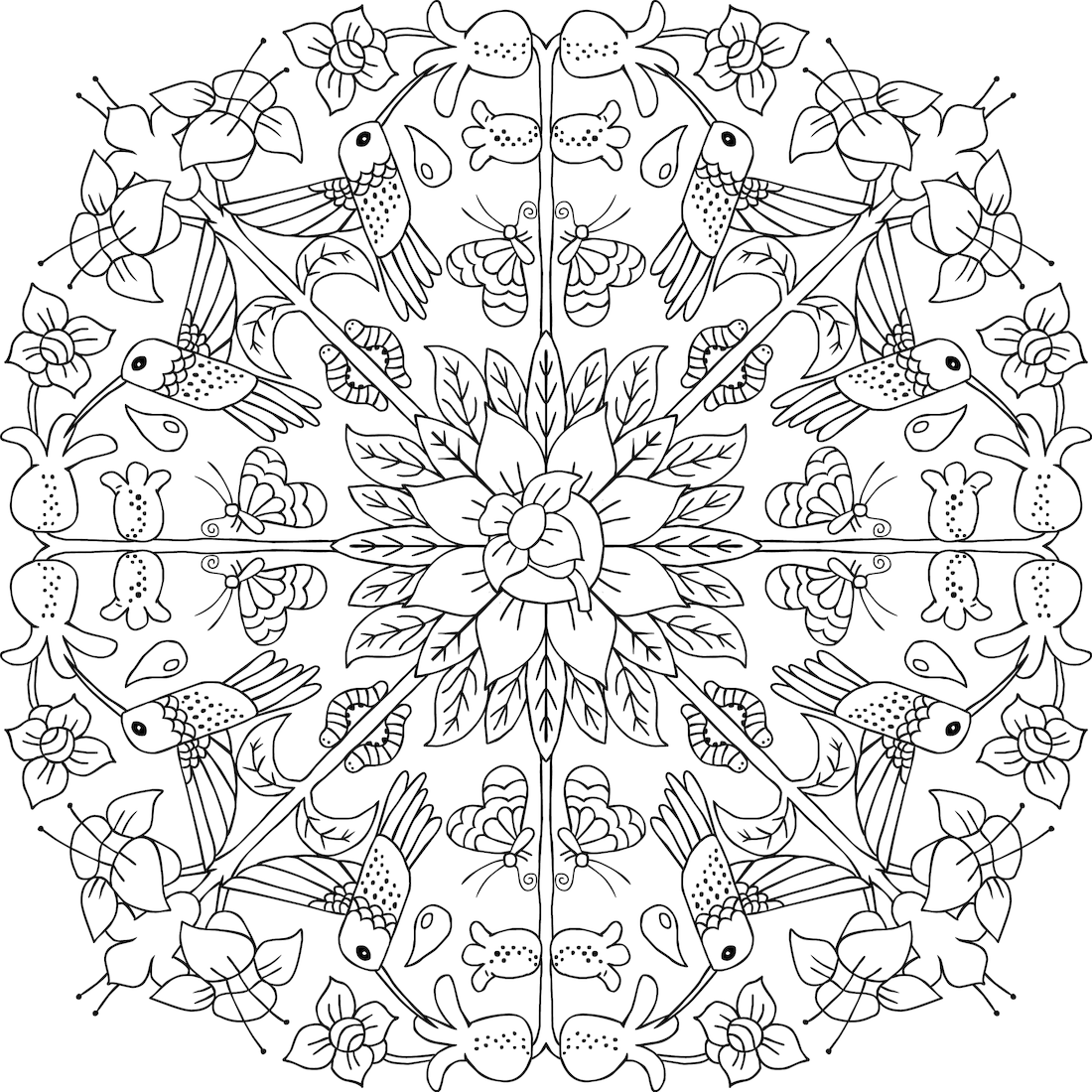 Picture of Hummingbird Wreath coloring page