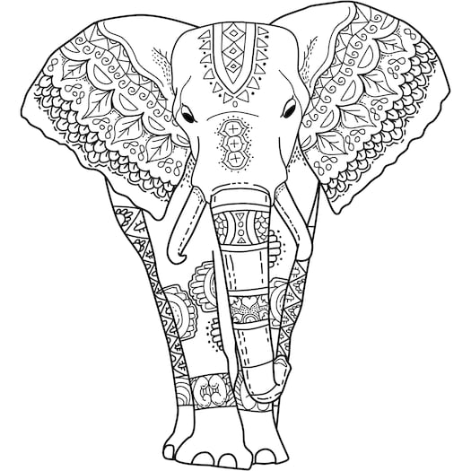 Mystical Elephant Coloring Page